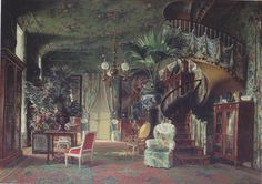 salon Princess Mathilde Saint Gratien by Charles Giraud image souce: La Tribune de l'Art Textiles had been forever a symbol of opulence among the aristocracy and when the industrial revolution made them more widely accessible than ever before, a craze broke out in society close to madness. This exuberant trend spread to simpler bourgeois interiors, the perfecting of Jacquard looms, printing cylinders, and sewing machines all playing a role in spreading the joyous contagion.