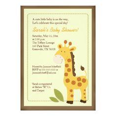 Giraffe Adventure 5x7 Baby Shower Invitation