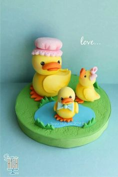 Cute duck family fondant toppers