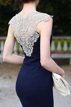 Ariadna Majewska - Navy Blue Midi Elegant Dress -lovely lace back Elegant Midi Dresses, Trendy Dresses, Blue Dresses, Beautiful Dresses, Casual Dresses, Fashion Dresses, Formal Dresses, Gorgeous Dress, Prom Dresses