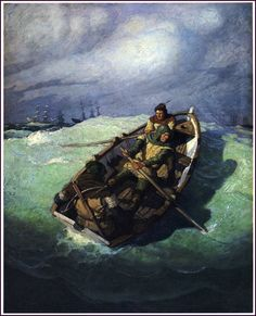 """""""The little cockle dipped into the swell and staggered with every gust of wind."""" N.C. Wyeth - illustration from 'The Black Arrow'"""