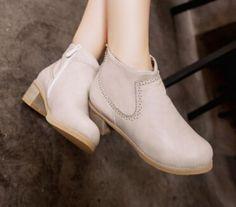 Women new fashion spring autumn vintage 4cm low thick heels round toe short boots shoes large plus size 40-43