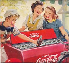 coca cola ad 1951.. I remember those old coke boxes~!  I remember the ones with the handle too and those awesome baby cokes inside!