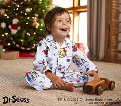 Flannel Grinch Pajamas #pbkids A special delivery gift from the north pole left on the doorstep at the beginning of December so he can get some use out of them.