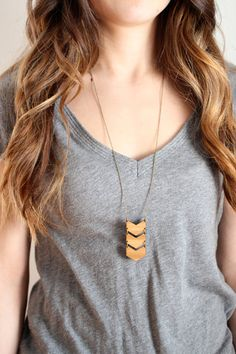 Geometric Bamboo Wood Triple Chevron Necklace by shoprarebird