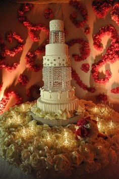Stunning tiered Wedding Cake and Crystal Cake Stand
