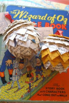 Wizard Of Oz Book Page Ornament- Vintage Book Ornaments, Pine Cone Ornament, Classic Book Decor, L. Frank Baum, Yellow Brick Road, Whimsical by Papyrusaurus on Etsy