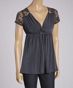 Another great find on #zulily! Charcoal Lace Empire Waist Top by Ella Samani #zulilyfinds