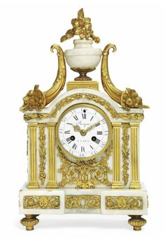 A LOUIS XVI ORMOLU-MOUNTED WHITE MARBLE STRIKING MANTEL CLOCK  ROQUE, PARIS, CIRCA 1790