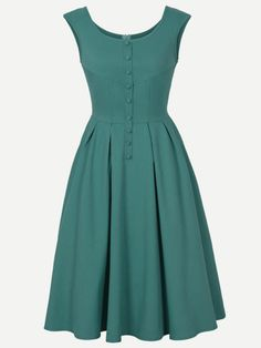 Scoop Neck Buttoned Sleeveless Vintage Dress - Green S Vintage Outfits, Vintage Dresses Online, Robes Vintage, Vintage Fashion, Dress Vintage, Cute Dresses, Dresses For Work, Dresses With Sleeves, Dresses Dresses