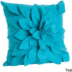 Saro Ivory Felt Flower Design Pillow (€30) ❤ liked on Polyvore featuring home, home decor, throw pillows, blue, ivory throw pillows, cream throw pillows, flower stem, floral home decor and square throw pillows