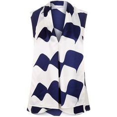 Victoria Beckham Sleeveless Printed Blouse ($955) ❤ liked on Polyvore featuring tops, blouses, layered blouse, silk tops, blue blouse, blue sleeveless top and silk print blouse