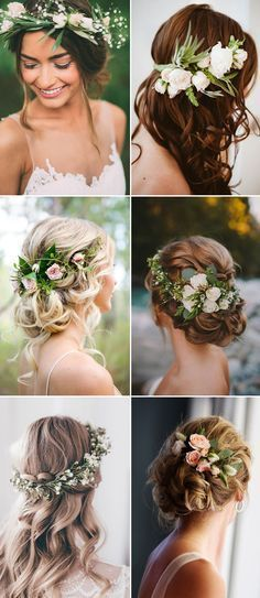 amazing wedding hairstyles with green flowers