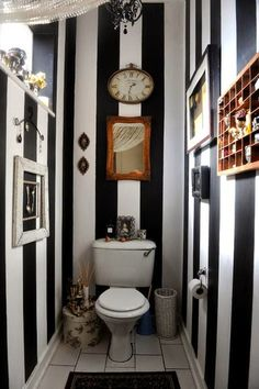 Guest Bathroom Stripes   Eclectic   Powder Room   Other Metro   Shelene  Shaer