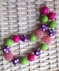Rainbow chunky bead necklace.. Chunky necklace.. by GirlzNGlitter, $16.50