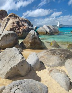 This beach which is full of tide pools, grottoes, and smooth boulders:The Baths, Virgin Gorda, British Virgin Islands.