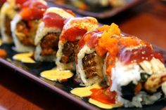 *Spicy Ninja Roll: spicy tuna, fried shrimp, topped with seared tuna, masago, special sauce