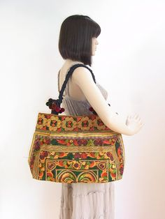 Orange Bird Tote bag HMONG Embroidered Bag by ThaiHandbags