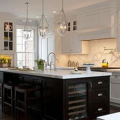 Espresso Kitchen Island - Transitional - kitchen - Kitchens by Deane Kitchen Interior, New Kitchen, Kitchen Dining, Kitchen Decor, Kitchen Ideas, Ranch Kitchen, Design Kitchen, White Shaker Kitchen Cabinets, Espresso Kitchen Cabinets