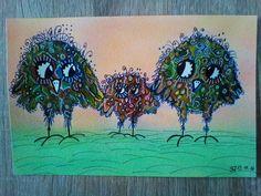 Mein erster Versuch mit Aquarell Farben. Hintergrund mit Softpastellkreiden. #Happybird #Clarissahagenmeyer