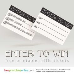 This black and white set of enter to win printable raffle tickets is suitable for all sorts of different raffle occasions.
