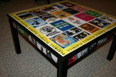 Mod podge Broadway playbills to coffee table