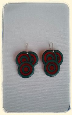 Red and blue petrol circle earrings geometric by DionaCrafts Circle Earrings, Red And Blue, Polymer Clay, Crochet Earrings, How To Draw Hands, Handmade, Stuff To Buy, Etsy, Jewelry