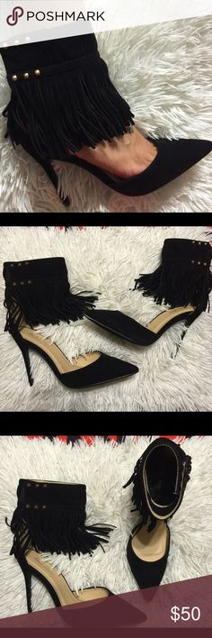 "❗️New❗️Black Suede fringe 3"" pointed heels New with box Black Suede 3"" heel. Velcro ankle fringe. Gold studs ankle strap Boutique Shoes Heels"