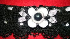 Classy black crocheted lace garter with black, white and silver kanzashi flower. Embellished with rhinestones. | Shop this product here: http://spreesy.com/girlsjustwannahavfunbowtique/87 | Shop all of our products at http://spreesy.com/girlsjustwannahavfunbowtique    | Pinterest selling powered by Spreesy.com
