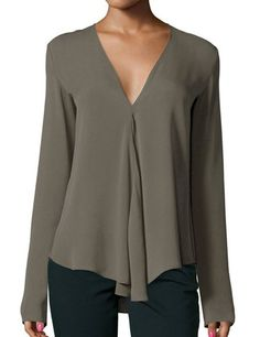 Army Green V Neck Long Sleeve Loose Blouse -SheIn(Sheinside) Mobile Site