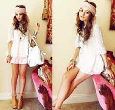 Rose Headwrap, Modekungen White Lace Top, Scalloped Pink Skirt, Jeffrey Campbell Pixie Wedges