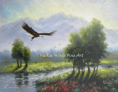 Mountains & Eagle Original Oil Painting 16X20 by VickieWadeFineArt