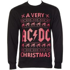 AC/DC Official Christmas Jumper (Black/Red) (€41) ❤ liked on Polyvore featuring tops, sweaters, jumper top, jumpers sweaters, christmas jumpers, red sweater and christmas sweater