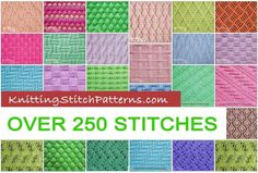 Over 250 knitting stitches, including basic knit and purl stitches, rib, cable and twist, eyelets and lace, bobbles, slip stitches, reversible patterns and colorwork patterns. FREE!