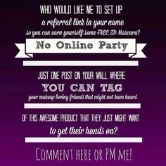 """Earn Hostess Rewards with a qualifying party (sales of at least $200) 1 of 2 ways!  1) Host a referral party. I'll set up a Younique party for you on my website! Then, you simply post the party link directly from the website onto your personal Facebook page by clicking """"Share this party on Facebook."""" 2) Host a Facebook party with all your friends!! I'll set up a Younique party for you on my website, then create a Facebook party! www.myasbeyounique.com"""