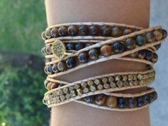 Gold Wrap Bracelet with Tigers Eye Beads by ElizabethPeridot, $80.00