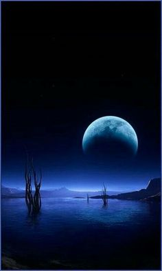 Big Moon Over The Lake Bebe'! Awesome blue moon and its'' reflection in the water below! Sombra Lunar, Stars Night, Stars And Moon, Big Moon, Dark Moon, Full Moon, Shoot The Moon, Moon Shadow, Moon Pictures