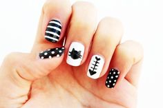 Tutorial uñas gato en http://curlymade.blogspot.pt/2014/05/diy-cat-nails.html