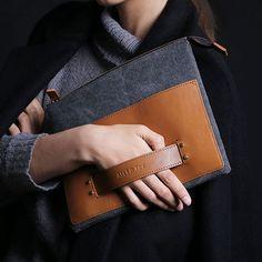 Handy iPad Clutch Bag by Alef & Tav   MONOQI #bestofdesign   Origin South Korea   Material Polyurethane-Coated Canvas, Leather
