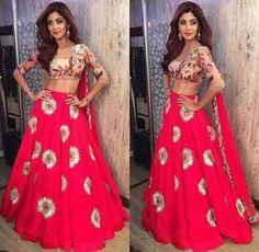 Buy Shilpa Shetty Crepe Machine Work Red Semi Stitched Bollywood Lehenga online in India at best price. Shilpa Shetty, Madhuri Dixit, Priyanka Chopra, Floral Lehenga, Lehenga Choli, Sari, Red Lehenga, Bridal Lehenga, Lehenga Blouse