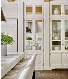 I never tire of an all-white kitchen! Especially one with such beautiful cabinetry details by Photo by… Luxury Kitchens, Home Kitchens, Home Design, Design Ideas, Kitchen Furniture, Kitchen Decor, Furniture Stores, Kitchen Ideas, Cheap Furniture