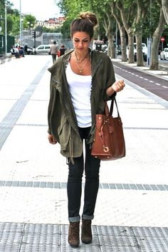Utility Jackets glamhere.com Olive khaki parka  white tank  skinny jeans  Awesome big whiskey leather bag!