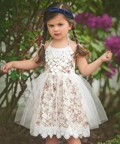 Take a look at this Just Couture Ivory Floral Lace Della Dress - Toddler & Girls today!
