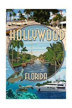 Lauderdale, Florida - Montage - Lantern Press Artwork (Art Print Available) Old Florida, Florida Travel, Florida Beaches, Travel Usa, South Florida, Vintage Florida, Cruise Travel, Hollywood Florida, Hollywood Beach