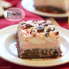Peppermint Ice Cream Brownie Bars are the perfect winter dessert! Made easily and the hit of any party. These are perfect for Christmas parties!