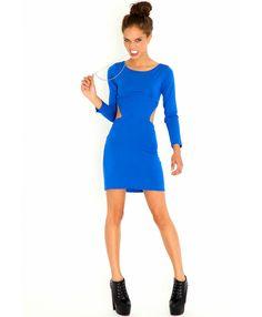 Blue Cut Out Bodycon Dress