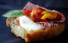 Bruschetta peperoni scamorza e salame