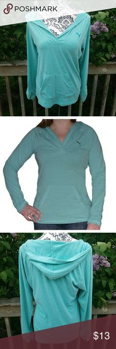 Euc!  PUMA teal green long sleeve hoodie tee! Size medium  No signs of wear  Actual color reflects 2nd picture -camera lighting too bright! Puma Sweaters