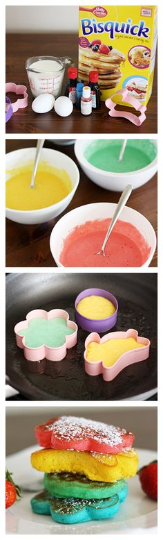 #Easter Rainbow Pancakes #HowTo