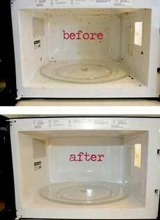 1 cup of vinegar mixed with 1 cup of water and microwaved for 10 minutes. Then wipe out all your gunk with a paper towel. Worked perfectly!